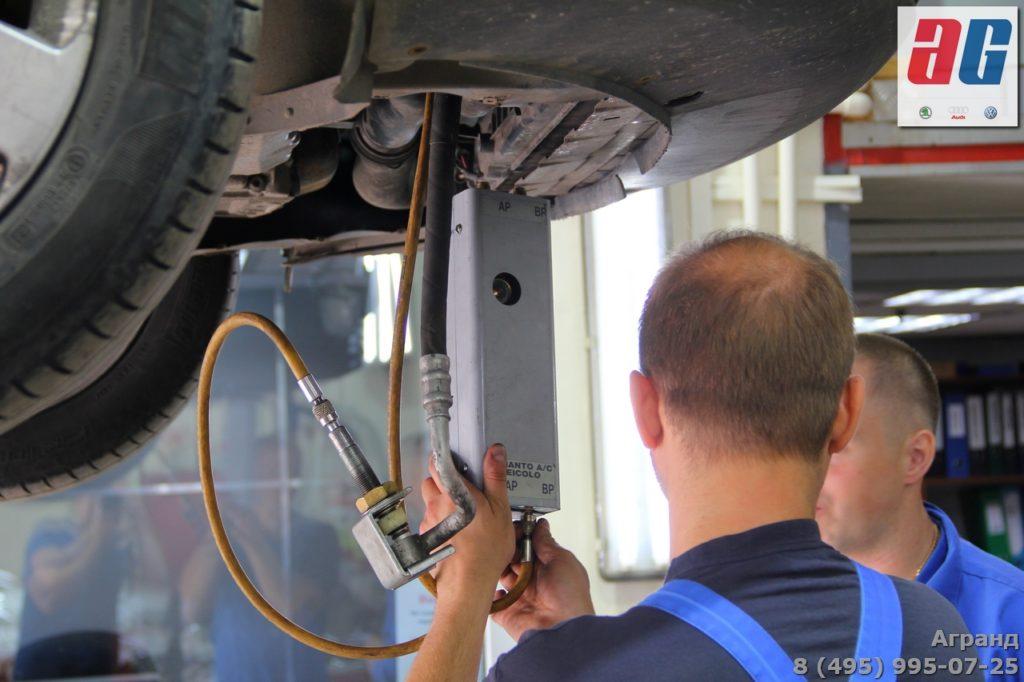 замена компрессора кондиционера шкода